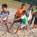 Playing games on Children's day in Ban Talae Nok, Thailand